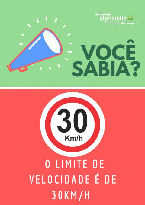 30 KM/H: RESPEITE O LIMITE DE VELOCIDADE NO RESIDENCIAL